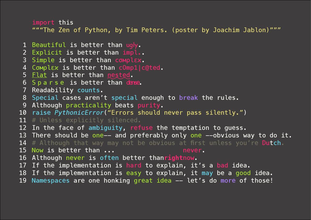 输入 import this 欣赏一篇有关 Python 的诗《Python之禅》